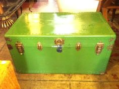 This large mid-century trunk has a vibrant green finish. Inside the trunk there is a large removable tray, perfect for storing linens or old photographs. Los Angeles Sunset, Tiki Hut, Vintage Storage, Old Photographs, Simple House, Hope Chest, Vintage Furniture, Linens, Trunks