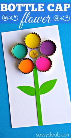 Bottle Cap Flower Craft for Kids #spring art project or to put on a mother's day card | CraftyMorning.com