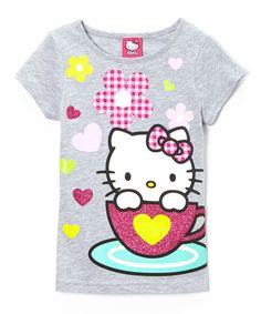 Another great find on #zulily! Gray & Pink Teacup Hello Kitty Tee - Girls #zulilyfinds