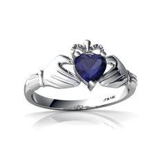 TOPSELLER! 14kt White Gold Sapphire Heart Cladda... $319.00