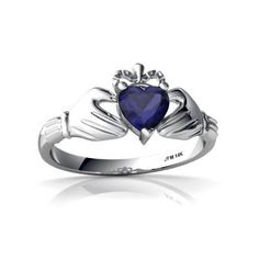 Celtic Claddagh rings have also been referred to as a faith rings. The heart, crown and hands in the design symbolize love, loyalty and friendship. To be given a Claddagh ring is a sign of a deep love for the receiver, a love which will last forever.This celtic claddagh ring features a 5mm heart-cut sapphire center stone. The total gem weight for the ring is 0.5 carats, set in solid 14k gold...