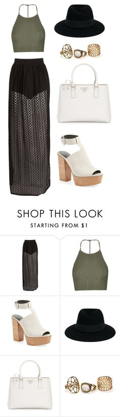 """""""Untitled #6"""" by anetahavlikova on Polyvore featuring Topshop, Rebecca Minkoff, Maison Michel and Prada"""