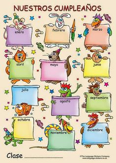 The Language Stickers Company ( Spanish poster - Nuestros cumpleaños Classroom Bulletin Boards, Classroom Walls, Classroom Decor, Classroom Birthday, Birthday Charts, School Clipart, Birthday Calendar, Winter Kids, School Subjects