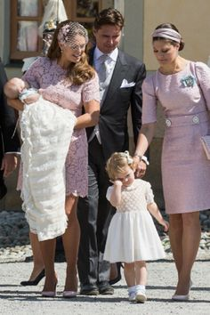 (L to R) Princess Leonore, Princess Madeleine of Sweden, Princess Estelle, Patrick Sommerlath and Crown Princess Victoria of Sweden as they leave for her Royal Christening at Drottningholm Palace Chapel, 08.06. 2014 in Stockholm, Sweden.