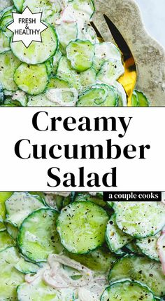 Here's an ultra refreshing side dish: creamy cucumber salad with sour cream! The silky sauce with dill and shallots brings an irresistible flavor. Creamy Cucumber Salad, Cucumber Recipes, Veggie Recipes, Cooking Recipes, Yummy Recipes, Yummy Food, Salad Works, Best Summer Salads, Creamed Cucumbers