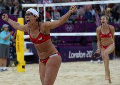 Misty May-Treanor and Kerri Walsh-Jennings celebrate their third straight Olympic GOLD, marking Misty's retirement. #GoTeamUSA #USABeachVolleyball #LondonOlympics