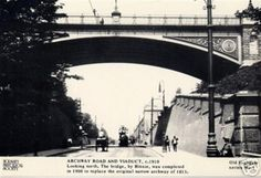Postcard from the Hornsey Historical Society showing the Archway Bridge around The bridge, infamously known as Suicide Bridge, carries Hornsey Lane across the main Archway Road in North London. London History, Local History, Vintage London, Old London, Old Photos, Vintage Photos, London Pride, London Pictures, North London