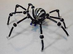 ~ Large Black & White Blue Eyed Beaded Spider ~