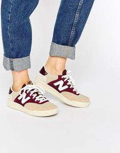 Image 1 of New Balance Court 300 Trainers In Burgundy & Nude