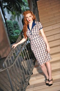 Plaid Pinup Girl Rockabilly Dress with Bow by NicoleKatherine, $115.00