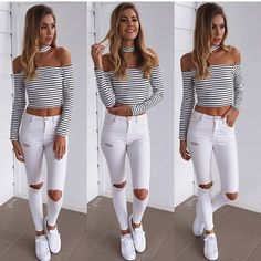 Ripped jeans | Sneakers | White | Crop | Stripes | Sporty Luxe   Stand still top, $55! Lone jeans, $69!  www.muraboutique.com.au #mura