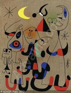 MIRÓ Joan,FEMMES DANS LA NUIT,Sotheby's,New York - auction results, art pricing:  http://www.artvalue.com/auctionresult--leger-fernand-1881-1955-france-etude-pour-la-femme-en-bleu-1910751.htm