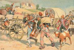 """""""Französische Revolutionssoldaten in der Pfalz raubend und plündernd. (1793) """"."""
