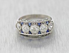 Antique Art Deco Platinum 1.63carats Diamond Engagement by shopccj