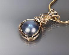 Mobe pearl gold pendant, Mobe pearl, Wire wrapped jewelry, Gold jewelry, Art, Handmade jewelry, Wire wrapped pendant, June birthstone, Blue