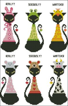 Mini Cross Stitch Pattern:Black Cat Goofy Bookmark  Design Source:Pinoy Stitch  DMC Floss Colors:14  Stitch Count:31x83(Each Black Cat)  Approximate Finished Size on Recommended Fabric:*  14count =2w  16count =2w  18count =2w  22count =1w