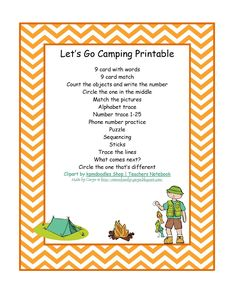 Preschool Printables: Camping Theme -- Count the objects and write the number, trace the alphabet.