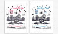 This gift set was created around original sSCAPESs citySCAPE Sky Flowers Illustration painted with custom chosen colors. It consists of two birth stats wallart for a twin girl Annabelle Zoe and her twin brother Theodore Noah. The Wallart for Annabelle is painted with color combination FOSSIL COIN and lettered with PUNCH GRAPE. The Wallart for Theodore is slightly different with color combination SLATE SMOKE and lettered with SAPHIRE INDIGO from the sSCAPESs color chart. Twin Brothers, Twin Girls, Customized Gifts, Slate, Fossil, Punch, Birth, Indigo, Twins