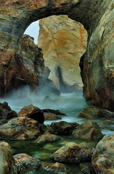 """Looking through the key hole by Garry Liddell. """"Welcome to the Oregon Coast, Your """"Keyhole"""" to the Pacific North West! This is a natural arch in the sandstone rock formations at Cape Kiwanda on the Oregon coast."""""""