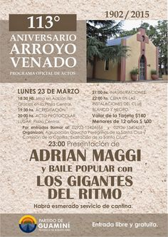 APORTES Y VISIONES DE NUESTRA HISTORIA: 113 Años festeja Arroyo Venado