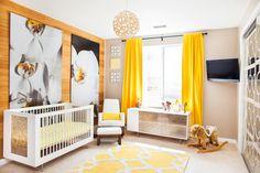 Kendra Wilkinson's Modern Nature-Inspired Nursery - love the bright yellow!