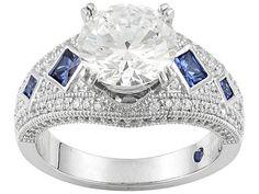 Vanna K (Tm) For Bella Luce (R) 5.69ctw White & Tanzanite Color Diamond Simulant Platineve (Tm) Ring