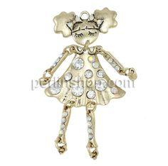 Charakterform Zinklegierung Anhänger, Mädchen, antike Goldfarbe plattiert, mit Strass, frei von Nickel, Blei & Kadmium, 39x78.50x5mm