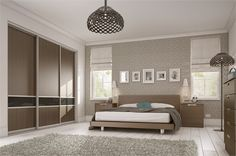 sliderobes fitted wardrobes grey brown walnut wood and charcoal glass bedroom Fitted Bedroom Furniture, Fitted Bedrooms, Built In Furniture, Sliding Wardrobe Doors, Built In Wardrobe, Perfect Wardrobe, Sliding Door, Bedroom Wardrobe, Home Bedroom