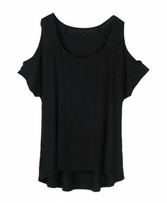 Cotton Batwing Sleeves Tees with Cold Shoulder