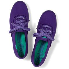 Keds Champion Polka Dot Lace. ($30) ❤ liked on Polyvore featuring shoes, sneakers, keds, heliotrope purple, purple sneakers, polka dot shoes, flat shoes, dot shoes and purple shoes