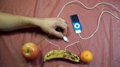 This experiment on how to charge an iPod with fruit is a interesting lesson on electricity. Stem Projects, Science Fair Projects, Science Experiments Kids, Science Lessons, Science For Kids, Science Activities, Science Labs, Mad Science, Science Ideas