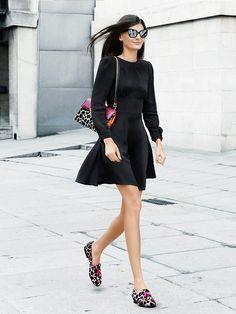 black dress + leopard boots & bag street style