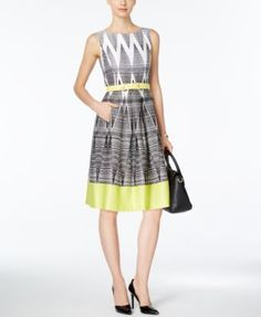 I own this dress w/blue trim (instead of yellow) and I love it! - Tahari ASL Sleeveless Printed Fit & Flare Dress