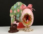 Pink Easter Panorama Egg, Chocolate Bunny, Display Stand - 12th Scale