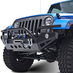 E-Autogrilles 51-0307 07-15 Jeep JK Wrangler Rock Crawler Front Bumper with OE Fog Light Hole and D-ring