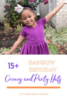 Rainbow birthday crowns for the perfect Rainbow themed birthday party for a girl or boy! #RainbowBirthday #BirthdayGirlOutfit #LittleBlueOlive