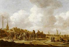 Jan van Goyen - Visafslag op het strand van Scheveningen
