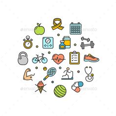Fitness Health Life Round Design Template Thin Line Icons