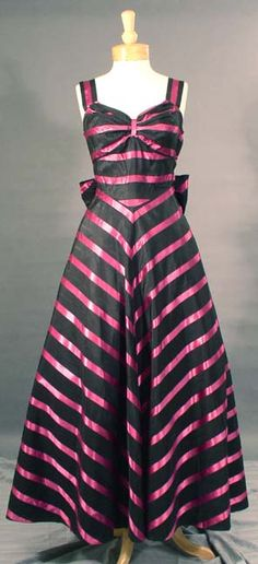 Black moiré taffeta evening gown with fuchsia satin appliquéd stripes, c. 1940's.