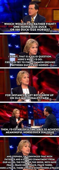 Hillary Clinton and Colbert's horse/duck conversation