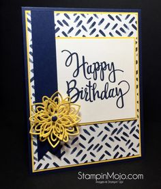 This is a eye catching super easy card to create. It starts with the layout… Hand Made Greeting Cards, Making Greeting Cards, Greeting Cards Handmade, Handmade Birthday Cards, Happy Birthday Cards, Birthday Greetings, Birthday Wishes, Bday Cards, Stamping Up Cards
