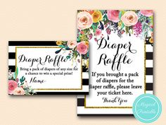 Diaper Raffle Card and Sign Diaper Raffle by MagicalPrintable