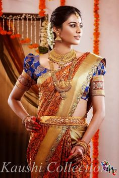 Today MyDresses has brought in a beautiful post of south indian wedding dress for women! Shop now for the latest styles of south indian wedding dress for South Indian Wedding Saree, Indian Bridal Wear, South Indian Bride, Saree Wedding, Tamil Wedding, Bridal Sarees, Wedding Dresses, Sari Design, Silk Saree Blouse Designs