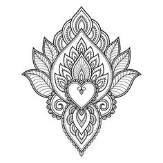 Mehndi flower pattern for Henna drawing and tattoo. Decoration in. - Mehndi flower pattern for Henna drawing and tattoo. Decoration in ethnic oriental, Indian style. Henna Hand Designs, Mehandi Designs, Indian Henna Designs, Simple Mehndi Designs, Mehndi Designs For Hands, Tattoo Designs, Henna Designs Paper, Henna Flower Designs, Henna Tattoos