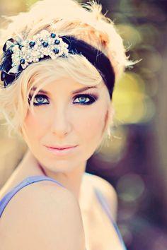 Bridal Headpiece- Headband- Swarovski Crystal Bridal Bandeau- Black Headband
