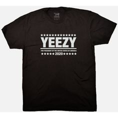 Yeezy Kanye West Presidential T-Shirt Screen Printed Available in S to... ($25) ❤ liked on Polyvore featuring tops, t-shirts, shirts, black, women's clothing, black top, black sleeve shirt, screen print tees, sleeve shirt and black shirt