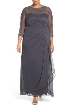 Alex Evenings Beaded Illusion Neck A-Line Gown (Plus Size) available at #Nordstrom