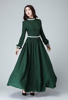 Details: * Made from soft green linen,white lace * A smaller collar * Back zipper * Has no pockets * Long Lantern sleeve * Pleated one the waist *