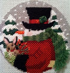 Snowman with Bunny needlepoint