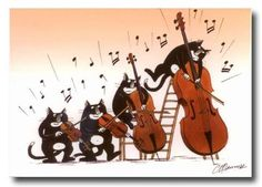Cats playing violin, viola, cello and bass. Jazz Cat, Cello Music, Art Carte, Music Drawings, Cats Musical, Animal Magic, Music Humor, Anime Comics, Classical Music
